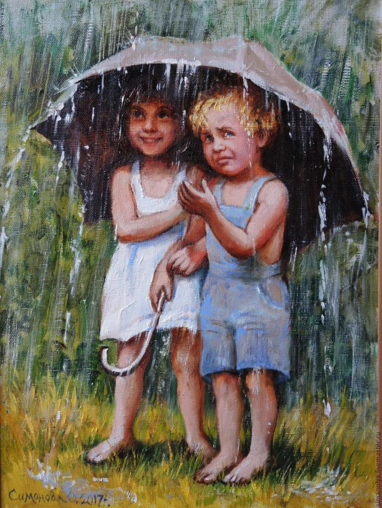 дождь – заказать на Ярмарке Мастеров – CL0R7RU Картины Сочи - Шкільний Всесвіт
