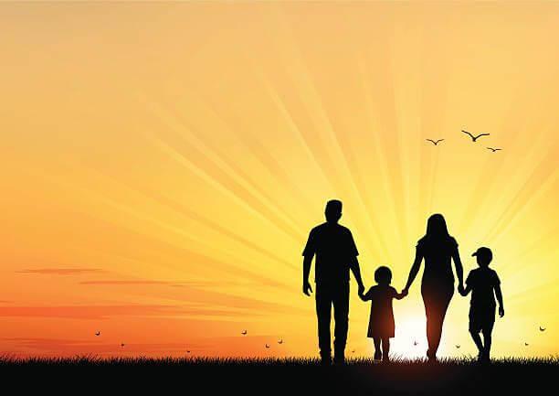 Vector illustration silhouettes of happy young family walking at 1 - Шкільний Всесвіт